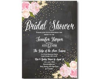 Chalkboard Bridal Shower Invitation, Chalkboard, Gold Sparkles, Floral Wedding, Chalkboard Wedding, Bridal Shower, Printed Invitation #CL127