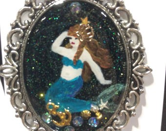 Fully Fabulous - Mermaid Painting - resin pendant necklace