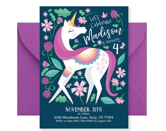 Unicorn Invitation, Girl's Unicorn Party, Floral Unicorn Invite, Printable, Customized text, DIY invitation