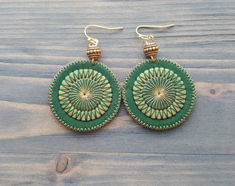 Green Earrings Bohemian Leather Earrings Boho Jewelry Gold Green Dangle Earrings Boho  Chic Tribal Earrings  Embroidered Mandala Earrings