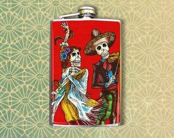 Flask 8oz Dancing Skeletons #117