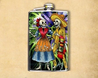 Flask 8oz Skeleton Couple #214
