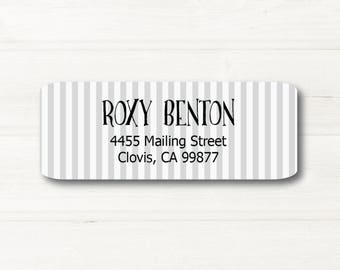 Gray Stripes, Everyday, Return Address Label, Personalized, MATTE, ALL Occasions