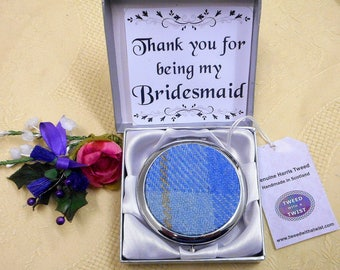 Gift for Bridesmaid Harris Tweed Compact mirror in choice of colour made in Scotland by Tweed with a Twist wedding favour maid of honour