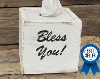 Kleenex Tissue Box Cover Bless You Handmade Naturally Aged Distressed Wood Gifts Under 30 Dollars Gift For Her Bathroom Home Decor