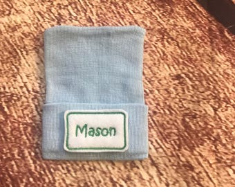Personalized Hospital Hat - Newborn Hospital Hat - Baby Boy Hospital Hat -  Newborn Hat with Name