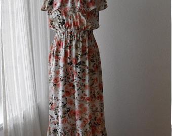 Blush Floral Ruffled Maxi Dress