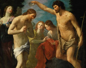 Guido Reni: The Baptism of Christ. Fine Art Print/Poster. (4884)