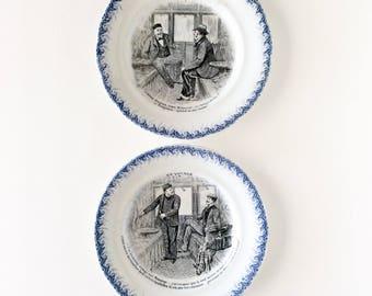 Terre de fer. Ironstone. Blue transferware. French talking plates. Victorian plates. French plates. Ironstone plates. Choisy La Roi. Antique