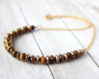 Men's Faceted Tigers Eye Necklace, Boyfriend Gift, Husband Gift