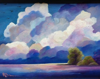 Big Sky, Cloud Study, Landscape Painting, Rustic Country Painting