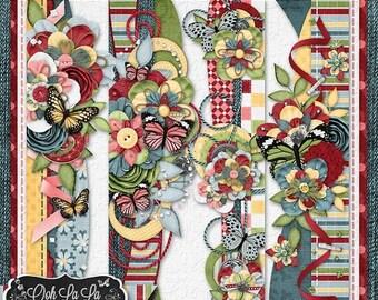 On Sale 50% Butterflies and BlueJeans 12 Inch Page Borders Digital Scrapbook Kit - Digital Scrapbooking
