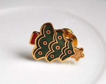 1983 Christmas Tree Pin, Holiday Pin, Hallmark, Holiday Brooch, 80s Christmas Jewelry, Costume Jewelry, Vintage Christmas