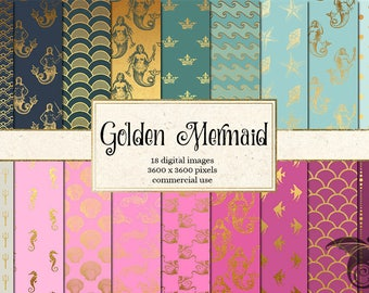 Golden Mermaid Digital Paper Pack - Gold Mermaid Scrapbook Paper Pack, Pink and gold, Blue and gold mermaid digital paper instant download