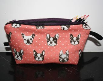 Kits school pencils or other fabric cotton french bulldog heads
