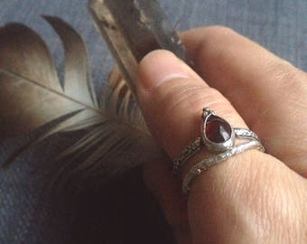 Refined Rustic Bohemian Celestial Grounding Garnet Goddess Ring || Size 8.5, Vancouver Jewelry, Rose Gold, Sterling Silver, Antique Inspired