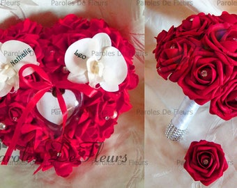 Bouquet set, wedding ring and boutonniere (available) roses diamond to customize and fuchsia