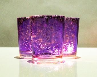 Set of 12 MERCURY GLASS Purple Speckled Glass Candle Holders Votive Holder Led Candleholder Tea Light Wedding 2.5 Winter Christmas