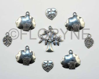 9 charms Charms Pendants silver metal leaves and trees