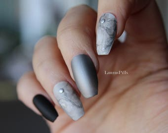 Matte black and marble silver coffin shaped false nails ! false nails, matte nails, fake nails, marble nails, silver nails