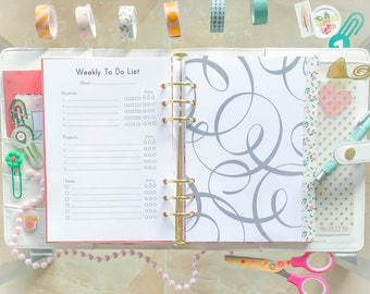 Filofax Refills A5 Weekly Planner Printable Filofax Inserts To-Do list Kikki K Weekly Planner Page Weekly Docket Weekly Chart Planner