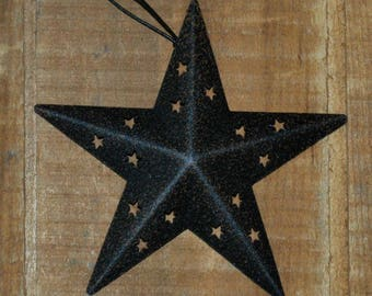 "12 --- 4"" Primitive BLACK BARN STAR Ornaments w/ Star cutouts - Wreath embellishment"