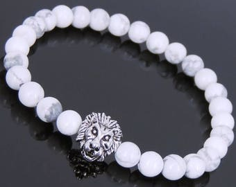 ON SALE NOW White Howlite Tibetan Silver Lion Head Bead Bracelet Yoga for Men Women DiyNotion Handmade T141