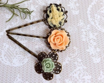 Hair Clips Budda Apricot And Sage Flora Bobby Pins