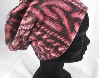 Bas030 - Cap chemo black and pink floral knit