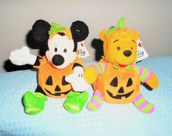 SALE! NOW/19!Euro Disney Store Plump Mickey Pumpkin OR  Plump Pooh Pumpkin/Special Tags/Halloween Special/Never Displayed/Soft and Sweet!!