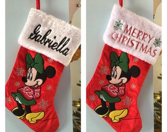 """Disney 20"""" Appliqued Minnie Mouse Full Body White Cuff Christmas Stocking - Personalized"""