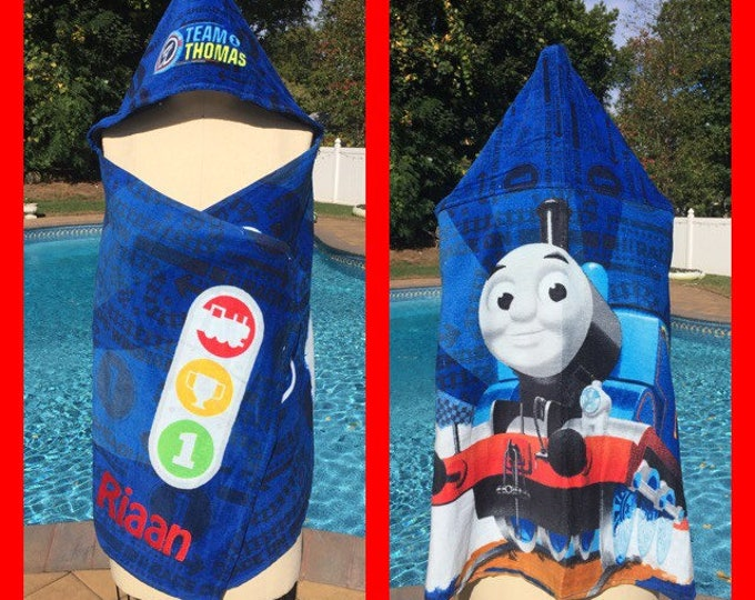 HERO Train Tank Engine inspired Hooded Towel Wrap Personalized