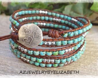 Beaded Wrap Bracelet/ Bohemian Seed Bead Leather Wrap Bracelet/ Seed Bead Bracelet/ Boho Wrap Bracelet/ Leather Bracelet/ Beaded Bracelet.
