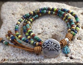 Multi Color Bracelet/ Seed Bead Bracelet/ Boho Leather Bracelet/ Seed Bead Leather Wrap Bracelet/ Beaded Wrap Bracelet/ Bohemian Bracelet.