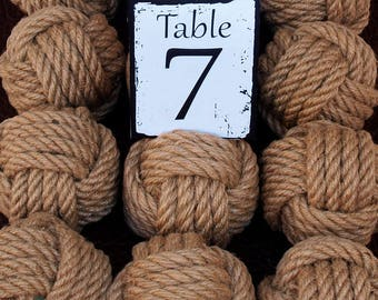 Beach Wedding  Hemp Rope 6 Table Number Holders for your Nautical Wedding Monkey Fist Rope Knots (brn1)