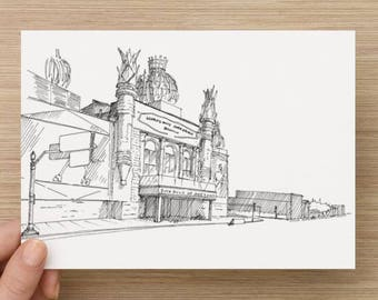 Ink Drawing of Corn Palace in Mitchell, South Dakota - Sketch, Art, Pen and Ink, 5x7, 8x10, Print, Architecture, Roadside Attraction