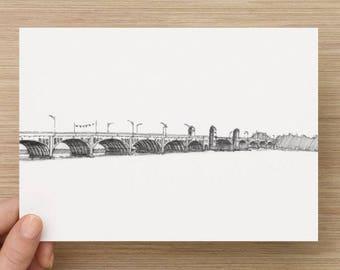 Ink sketch of the Hanover Street Bridge in Baltimore, Maryland