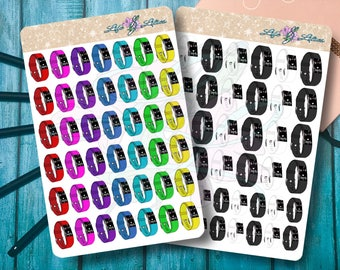 Hand drawn FitBit Fitness Tracker band planner Stickers