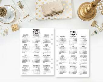 A5 2018-2019 Year at Glance printed planner insert - year in review - yearly planner insert