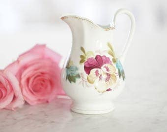 Antique Floral Pitcher Vase