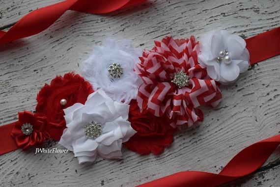 Sash, red and white Sash,#2, christmas sash, holiday sash,  flower Belt, maternity sash