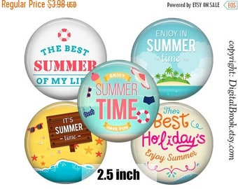 SALE 50% Digital Collage Sheet SUMMER TIME 2.5inch Printable Circles Download for cupcake toppers Pocket Mirrors Magnets Label