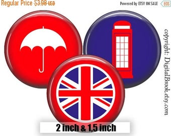 SALE 50% Digital Collage Sheet LONDON UK 2 inch 1.5 inch Printable circle images for Pocket Mirrors Magnets Labels Pendant Gift