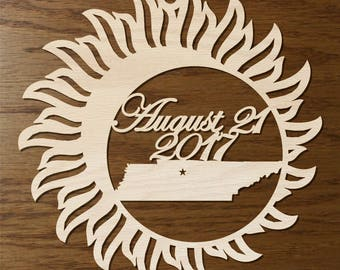 Tennessee Solar Eclipse  ornament wood cut decoration. Laser cut Total Solar Eclipse ornament Path of Totality through Tennessee