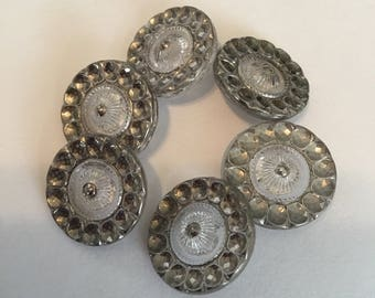 Glass Vintage Buttons- 6 Clear and Silver