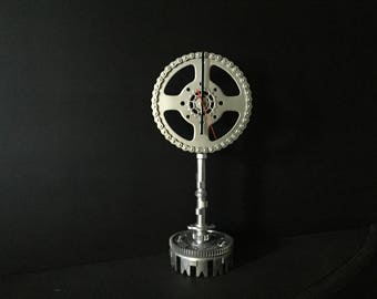 Large upcycled motorbike parts clock and stand