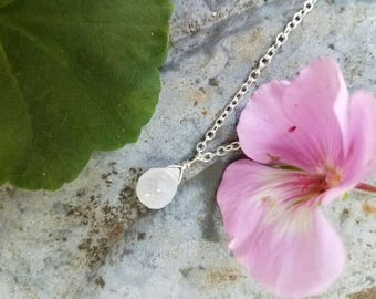 Moondrop - Simple Sterling Silver Moonstone Necklace