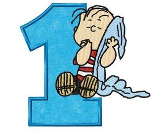 Linus 1st Birthday...Instant Download...Applique Machine Embroidery DESIGN NO. 925