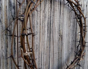 wreath from thorn twigs natural acacia thorns crown Christ crown of thorns christian passover rustic unique home decor photo prop