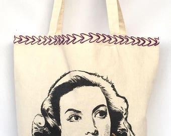 Maria Felix Embroidered Tote Bag. Maria Felix Hand Painted Canvas Bag. Maria Felix Canvas Bag.